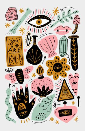 Vintage witchcraft cartoon elements set, magic shop for witches concept, wizard symbols bundle. Hand drawn fairy tale decor elements. Vector EPS clip art collection