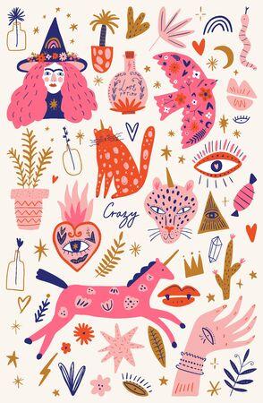 Basic witch girl concept. Crazy plant lady. Witchcraft cartoon elements set, magic flower shop, wizard symbols bundle. Hand drawn fairy tale decor elements collection.