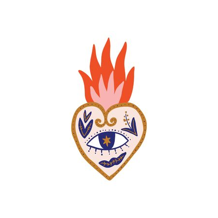 Sacred heart illustration. Trendy vintage love symbol, ornate style element. Spirituality, alchemy, magic. Vector EPS clip art design