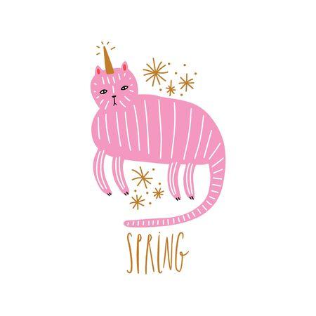 Cute caticorn lettering illustration. Cat unicorn, kitty magic party animal concept. Doodle cartoon stylish character. Vector EPS clip art design 向量圖像