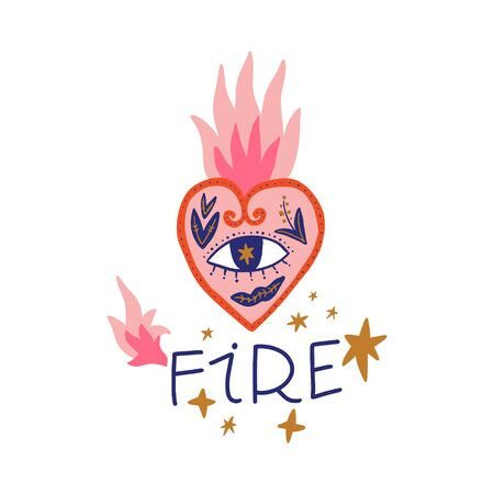 Vintage burning heart illustration, lettering text. Hand drawn girl motivational postcard, poster, t-shirt print and more. Vector EPS clip art design