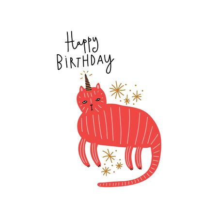Cute caticorn lettering Birthday illustration. Cat unicorn, kitty magic party animal concept. Doodle cartoon stylish character. Vector EPS clip art design 版權商用圖片 - 140992668