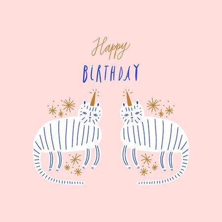 Cute caticorn lettering Birthday illustration. Cat unicorn, kitty magic party animal concept. Doodle cartoon stylish character. Vector EPS clip art design