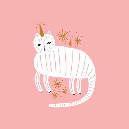 Cute caticorn. Cat unicorn, kitty magic party animal concept. Doodle cartoon stylish character. Vector EPS clip art design