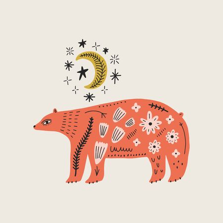 Modern folk tribal boho patterned animal in Scandinavian style. Floral Slovak ornament, inspired by northern mythology and fairy tales. Swedish folklore drawing, Nordic flowers pattern. Woodland characters concept. Ilustración de vector