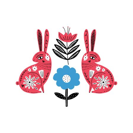 Modern folk tribal boho patterned animals in Scandinavian style. Floral Slovak ornament, inspired by northern mythology and fairy tales.