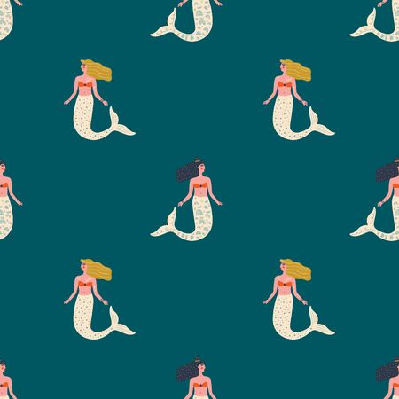 Vector seamless pattern with cute flat mermaids and seaweed in pastel color. Beautiful girl character. Sea princess art concept 向量圖像