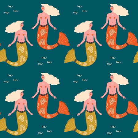 Vector seamless pattern with cute flat mermaids and waves in blue and orange pastel color. Beautiful girl character. Sea princess art concept