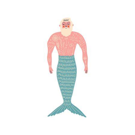 Merman flat art funny cartoon doodle illustration vector clipart