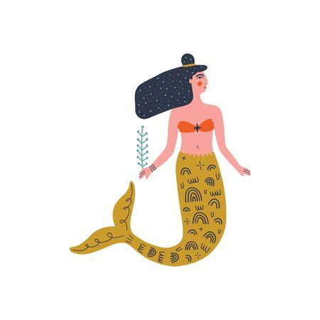 Flat cartoon boho hipster mermaid vector illustration, modern art 向量圖像