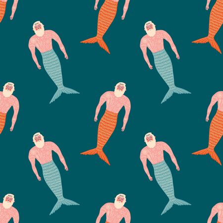 Merman flat art funny cartoon doodle seamless pattern, vector clipart 向量圖像