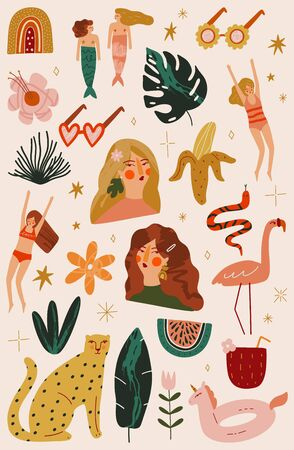 Cartoon Set of Summer Girls and Animals Vector Illustrations in Modern Collage Artistic Trendy Style