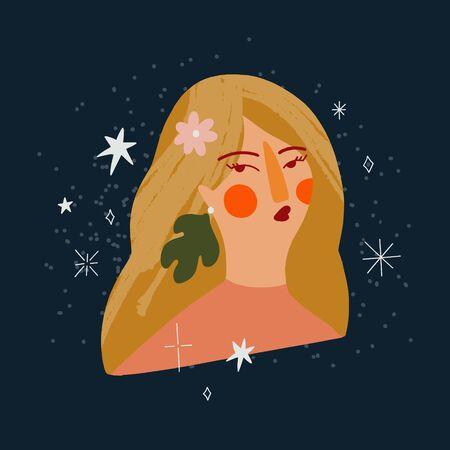Cartoon Flat Cute Summer Beautiful Boho Girl Face Portrait Art Print Vector Illustration in Modern Collage Artistic Trendy Style