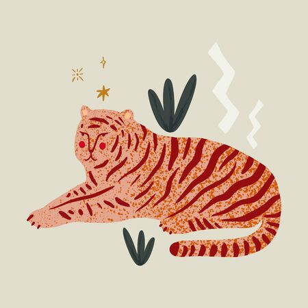 Lying tigress in the jungle. Wild cat, cartoon animal. Freedom and independence concept. Isolated elements. Vector illustration