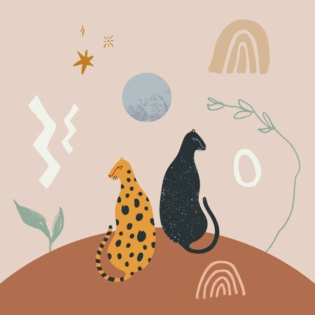 Modern abstract art print with black panther and leopard. Cosmic minimalistic landscape scene. Isolated elements. Vector illustration
