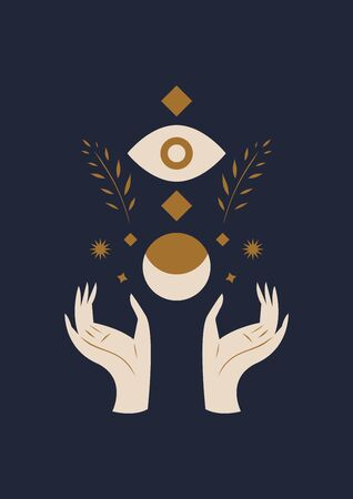 Hands holding Moon and Eye. Sacred geometry. Magic witchcraft concept. Vector illustration.