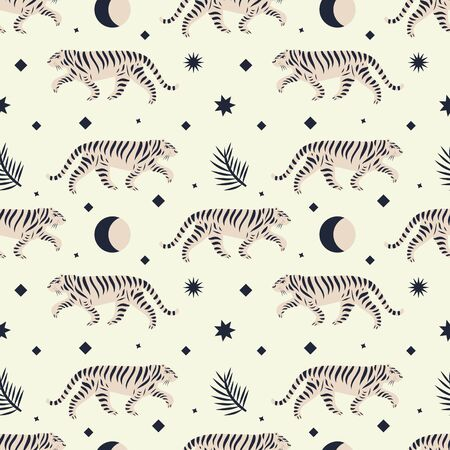 Chinese style cute tigers ornamental illustration in vector. Seamless pattern. Moon magic concept. Illusztráció