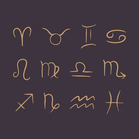Line art hand drawn Zodiac symbols in vector. Simple minimalist gold signs on dark background. Illusztráció