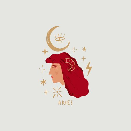 Zodiac girl Aries character. Space head sign. Vector illustration.