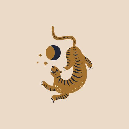 Chinese style tiger illustration in vector. Moon magic concept. Illusztráció