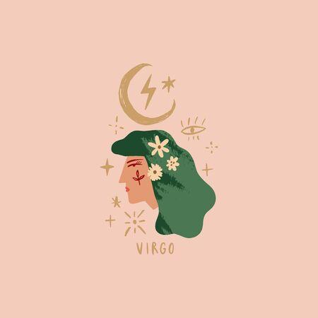 Zodiac girl Virgo character. Space head sign. Vector illustration.