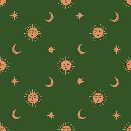 Moon and Sun celestial boho seamless pattern in vector.