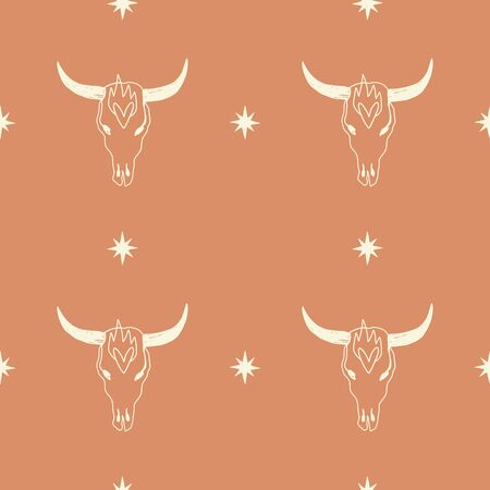 Boho seamless pattern with bull skull pattern in vector.
