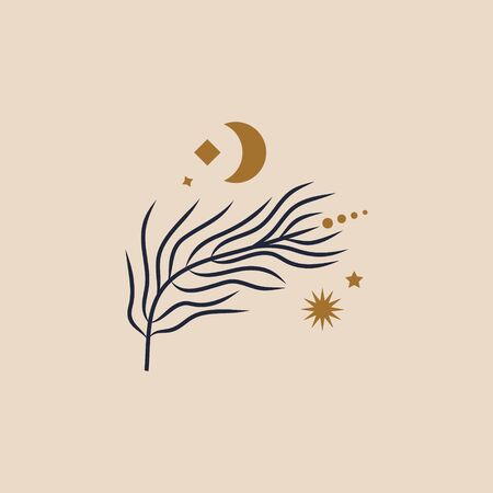 Tiny floral branch and crescent Moon in vector.