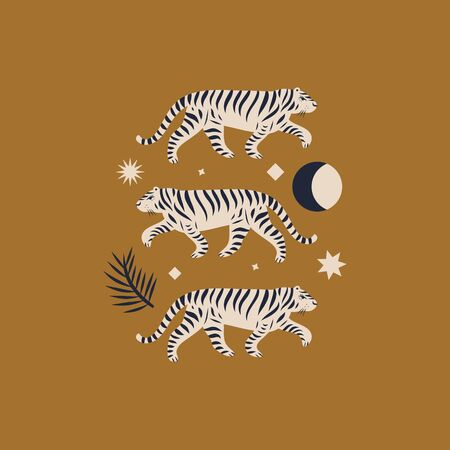 Chinese style tigers ornamental illustration in vector. Moon magic concept. Vektorové ilustrace