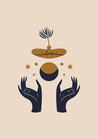 Hands holding Moon and potted plant. Sacred geometry. Magic concept. Vector illustration.
