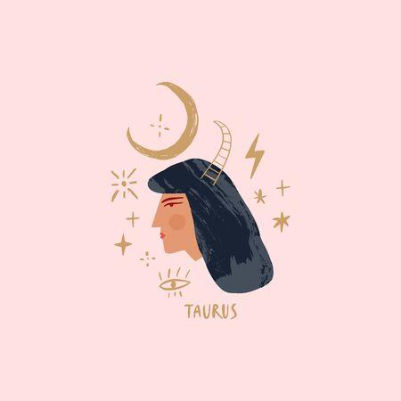 Zodiac girl Taurus character. Space head sign. Vector illustration.