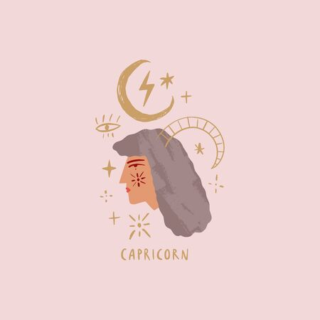 Zodiac girl Capricorn character. Space head sign. Vector illustration.