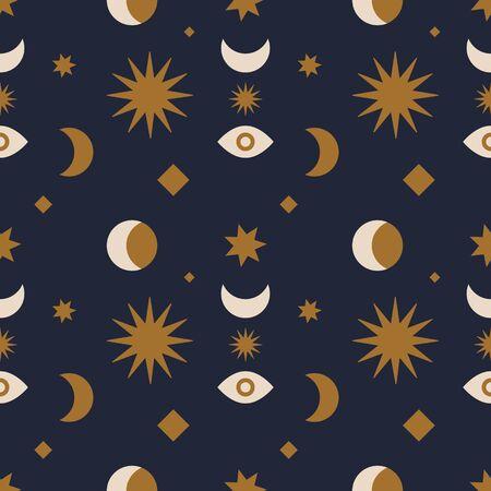 Seamless pattern with space objects. Sun, Moon and stars. Illusztráció