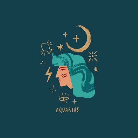 Zodiac girl Aquarius character. Space head sign. Vector illustration.