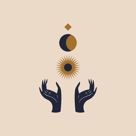 Hands holding Moon and Sun. Sacred geometry. Magic concept. Vector illustration.