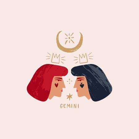 Zodiac girl Gemini characters. Space head sign. Vector illustration. Illusztráció