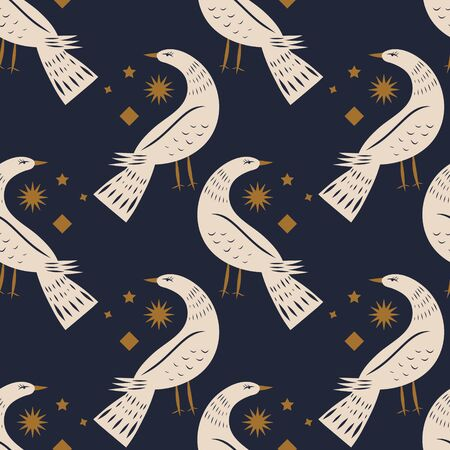Night bird seamless pattern or digital paper.