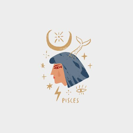 Zodiac girl Pisces character. Space head sign. Vector illustration.
