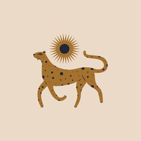 Cute boho leopard girl. Nursery childish style. Illustration in vector.