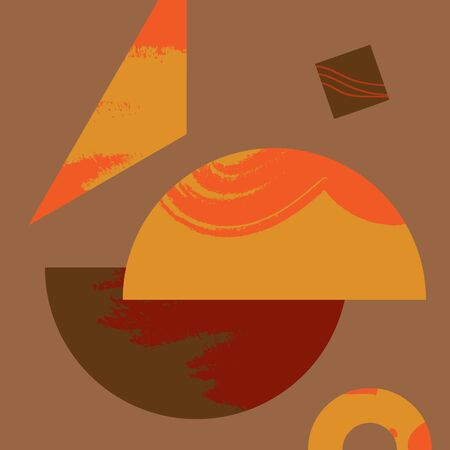 Terracotta abstract art print. Modern geometric digital painting. Scandinavian style poster. Contemporary abstraction in vector.