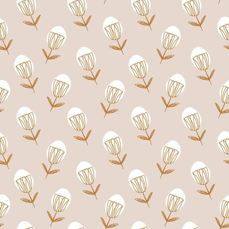 Abstract contemporary seamless pattern in Scandinavian style. Simple modern flowers shapes. Artistic print. Vector illustration.