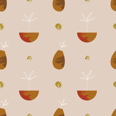 Plants in pots seamless pattern. Scandinavian style. Simple modern shapes. Texture and brush strokes. Artistic print. Vector illustration.