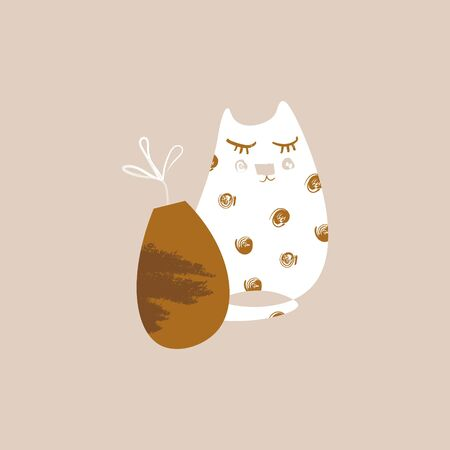 Cat and plant in pot. Abstract contemporary art in Scandinavian style. Simple modern shapes. Texture and brush strokes. Artistic print. Vector illustration. Illusztráció