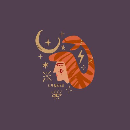 Zodiac girl Cancer character. Space head portrait sign. Vector illustration. Illusztráció