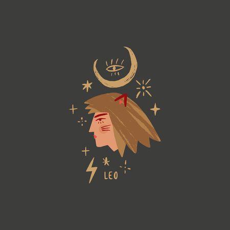 Zodiac girl Leo character. Space head portrait sign. Vector illustration.