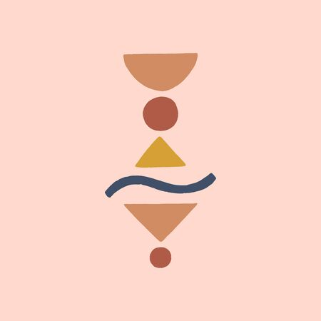 Modern terracotta abstract art print. Vector smooth shapes illustration. Warm earthly palette.