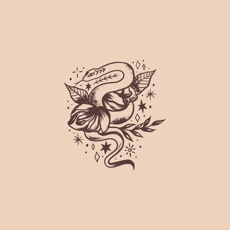 Snake and flowers oldschool tattoo. Boho vector illustration. Illusztráció
