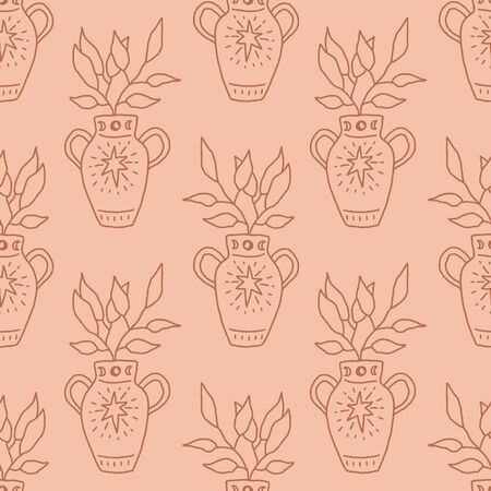 Terracotta antique vase with plant. Line art illustration. Seamless pattern in vector.