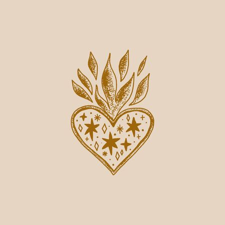 Sacred heart illustration. Trendy vintage love symbol, ornate style element. Spirituality, alchemy, magic. Vector clip art design.