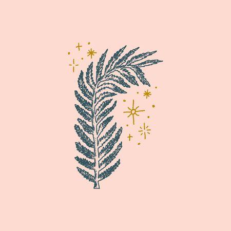 Fern leaf illustration, vector art. Boho magic style. Illusztráció